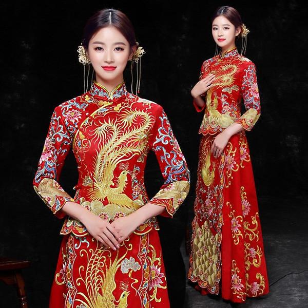 Bride Traditions Women Phoenix Embroidery Cheongsam Long Qipao Wedding Dress Traditional Chinese Dresses China Clothing Store