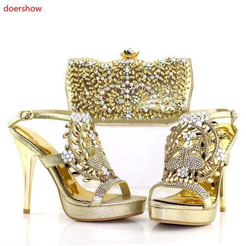 Gold Italian Style Woman Shoe And Evening Bag Set Fashion Rhinestone High Heels Woman Shoe And Bag Set For Party AC1-18216