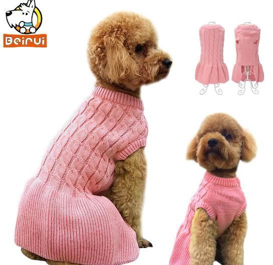 Pink Warm Dog Sweater Strick Herbst Winter Kleid Haustiere Kleidung Puppy Kleidung Mantel Bekleidung für kleine Mittelgroße Hunde Katze Chihuahua