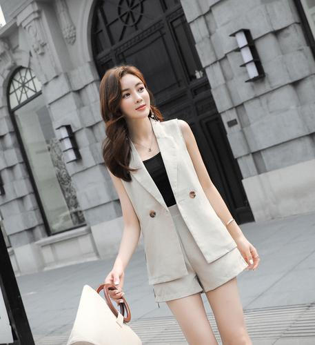 2018 newly design polyester and cotton mixed short pant two set thick summer women suit