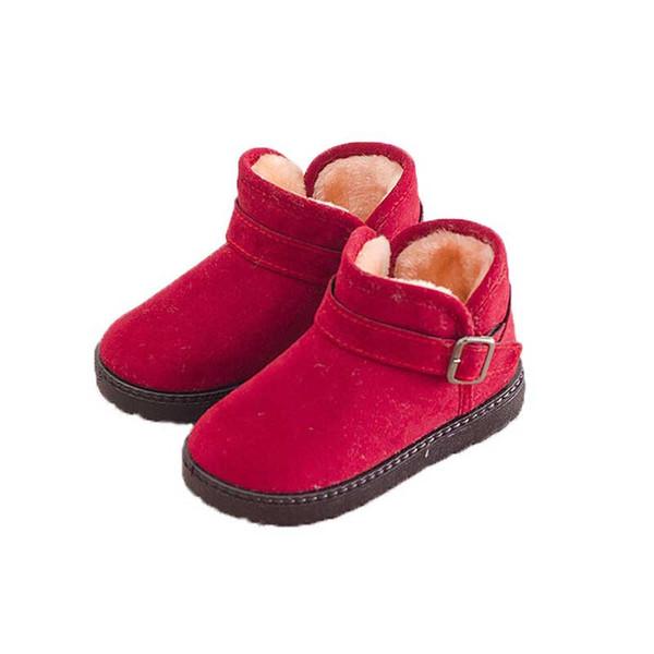 Зимние теплые снежные ботинки Детские ботильоны Обувь для мальчиков для девочек Черно-красная коричневая меховая пряжка Ботинки детские с мехом Теплые ботинки
