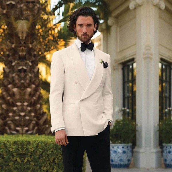 New Ivory Mens Wedding Suits Formal Mens Suits Double Breasted Grooms Tuxedos For Prom Party (jacket+pants+Bow tie)