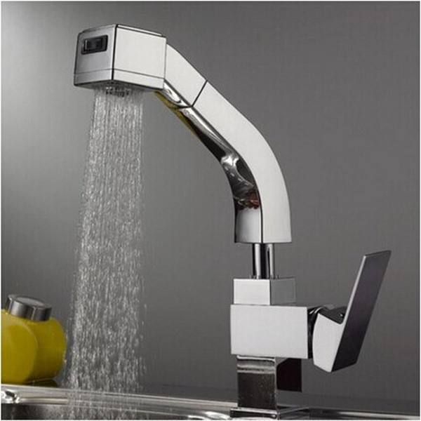 Superfaucet Spring Polished Chrome Brass Kitchen Faucet Pull Out Single Handle Sink Mixer Tap HG-1160DC