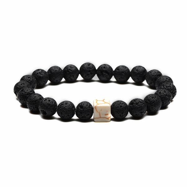 Elegant square agate crack pattern, simple 8 mm volcanic lava natural stone bead bracelet, charm men and women best partner