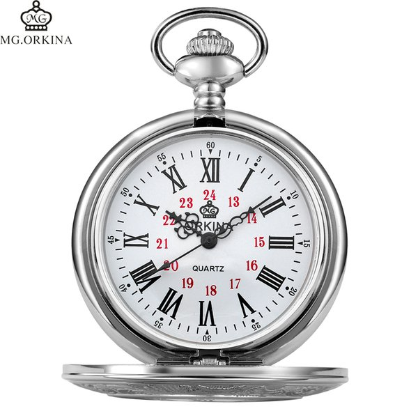 Best Gift For Men Women Roman Numerials Open Face Mechanical Carved Pocket Watches Silver Necklace Chain Fob Pocket Clocks