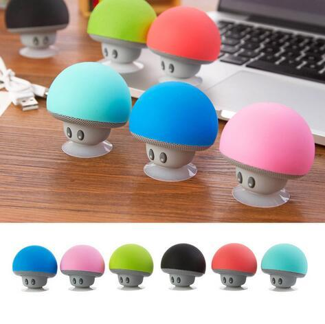 New Cool Gadgets Colorful Mini Bluetooth Speaker Mushroom Speaker 3.0 With Mic And Suction Cup For Mobile Phone IP6S Christmas Gifts