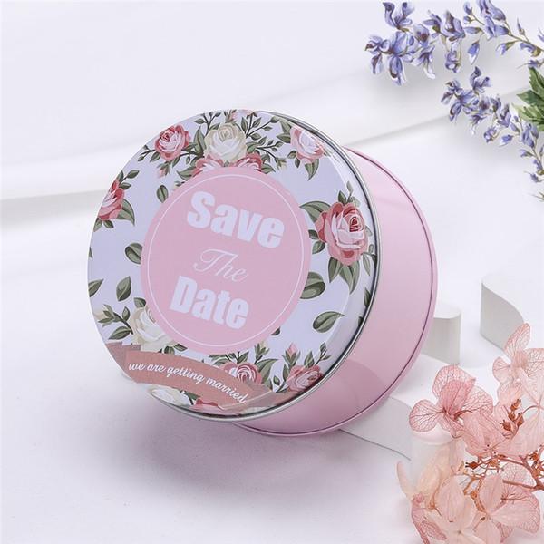 Flower Pattern Round Candy Box per matrimoni 12 pezzi / lotto Wedding Supplies Storage Box Tin Caddy Custodie in metallo portatili Pink Organizer Lovely Lattine