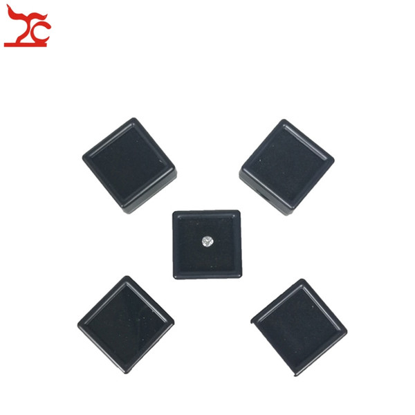5Pcs Plastic Loose Diamond Display Package Box Square Gem Stone Case Memory Foam Pad Diamond Storage Box 3*3*2cm