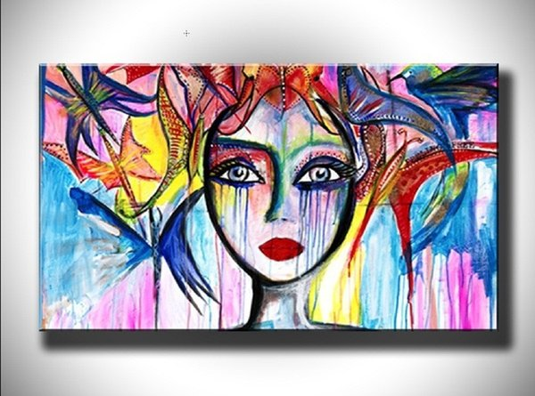 Hand Painted Abstract Colorful Girl Figure Oil Painting on Canvas Handmade Graffiti Oil Paintings Modern Wall Art Picture