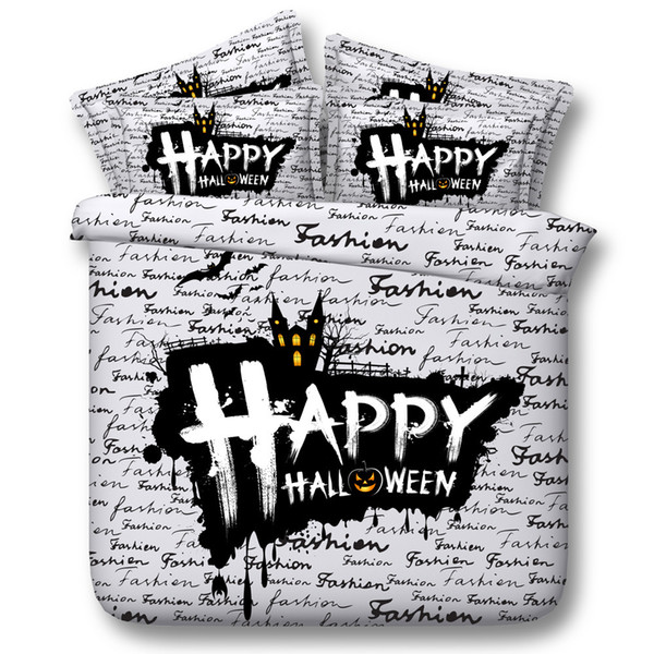 3D happy halloween Duvet Cover bedding sets queen castle Bedspreads Holiday Quilt Covers Bed Linen Pillow Covers black comforter cover