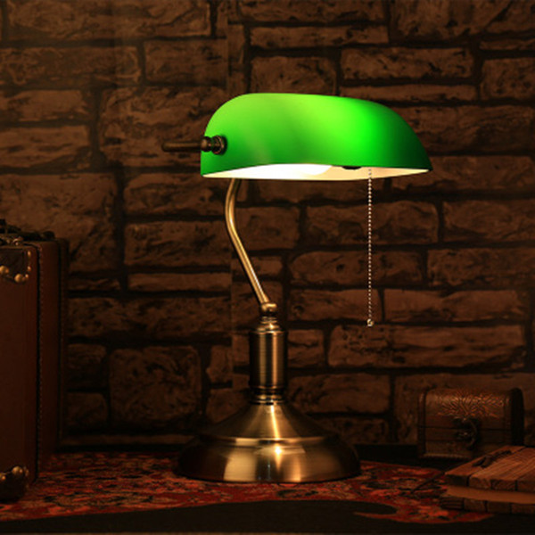 Shade material Glass Button type Chinese traditional lighting green glass cover table lamp retro vintage table lighting