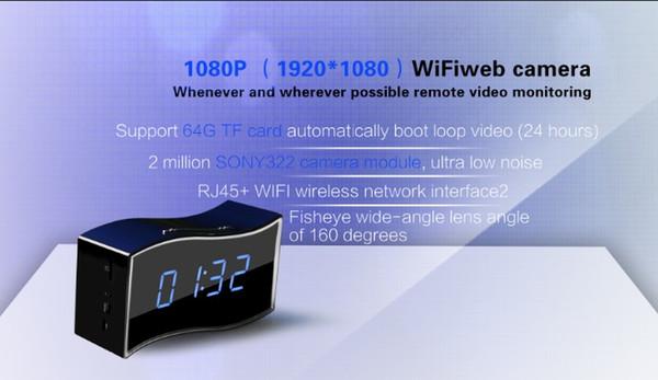 Wi-Fi HD1080P Kleine IP Wireless Kamera Tischuhr Recorder mit 25000 Batterie Bewegungserkennung und Alarm Benachrichtigung Echtzeit-Bewegung