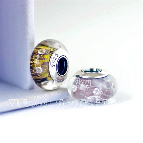 2 STÜCKE S925 Silber Gelb Lila Schimmer Klar CZ Murano Glas Charm Beads Passend Alle Europäischen DIY Armbänder Halskette-ZS376, ZS375