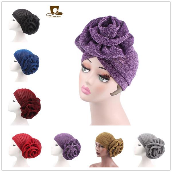 Women Big Flower Headband Womens Bright Muslim Turban India Cap red Ladies Bright silk Hair Lose Head Wraps Accessories Muslim Indian hat