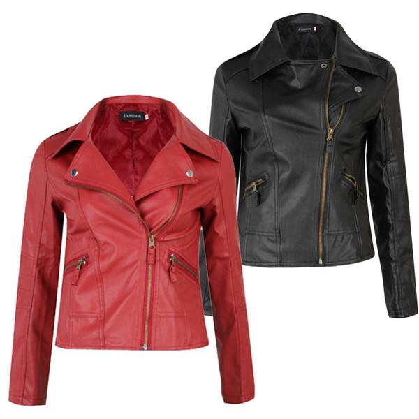 Fashion Female Red Slim PU Leather Jacket Women Coat Short Jacket