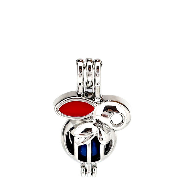 Silver Enamel Red Cute Rabbit Oysters Pearl Beads Cage Locket Pendant Aromatherapy Perfume Essential Oils Diffuser