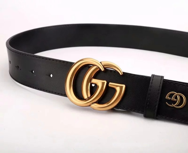 2018 new black luxury high quality designer belts, fashion big G buckles, men's and women's belts, free delivery.