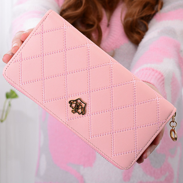 Women's wallet long section single zipper coin clip crown Lingge multi-card position hand bagage clip