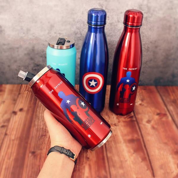 Marvel acero inoxidable termo vengadores 3 capitán hombre de hierro deadpool taza de agua fría botella de coca cola AD personalizado taza de regalo de café