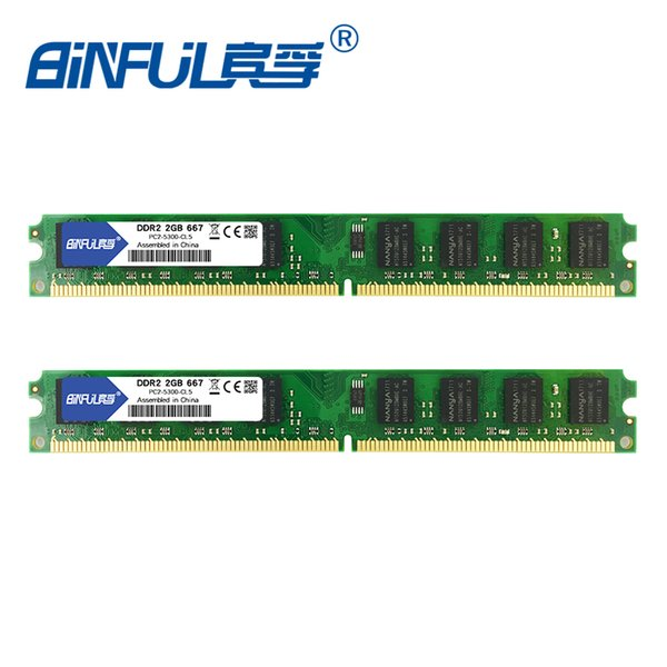 memory ram Binful DDR2 667mhz/800mhz 4GB(Kit of 2,2X2GB for Dual Channel) PC2-5300 PC2-6400 Memory ram for Desktop computer 1.8V