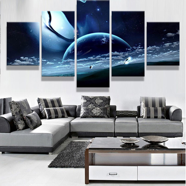 No Frame Large Poster HD Printed Painting 5 Panel Planet Landscape Canvas Print Art Home Decor Wall Art Pictures For Living Room