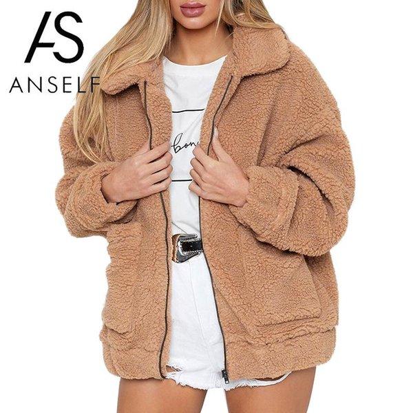 2018 Mujeres de invierno Faux Fur Chaqueta de color sólido Fluffy Teddy Bear Fleece Bolsillos con cremallera de manga larga Escudo Furry Casual Street Wear