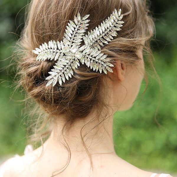 2019 Silver Color Fashion Bridal Hair Clip Comb Crystal Women Barrettes Handmade Wedding Headpiece Hair Accessories