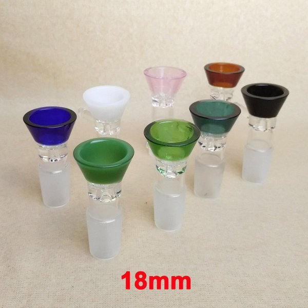 18mm Glass Bowl Funnel Slide Piece Slides Bongs Accessary Tobacco Smoking Colorful Male Bowls Heady Thick Water Pipe Bong Pink