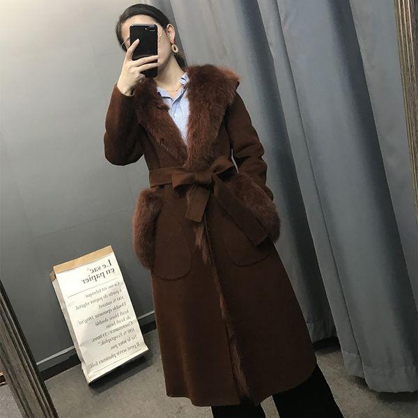 2018 lange Winterjacke Frauen Natürliche Echt Doppelseitige Kaschmir Mantel Fuchspelz Liner Dicke Schärpen Fshion Streetwear Brand New