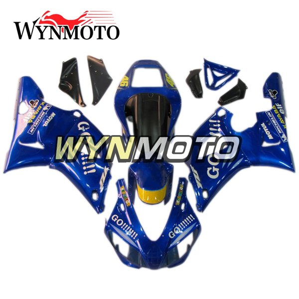 Full Cowlings For YZF1000 R1 1998-1999 98 99 Injection ABS Plastics Hull Covers Motorbike Hull Yamaha R1 Frames Bodywork Blue 46 GO Fairings