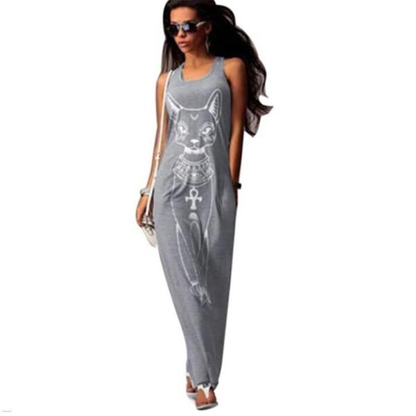Cat Long Maxi Dress S-XXL Women Casual Print Retro Summer Boho Beach Bodycon Dress Vestidos Tank Elegant Evening Party Dresses