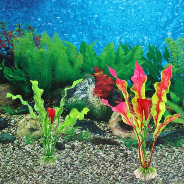top popular 18cm Green Artificial Flower Simulation Protection Materials PVC Water Plants for Fish Tank Aquarium accessories Decoration 2021