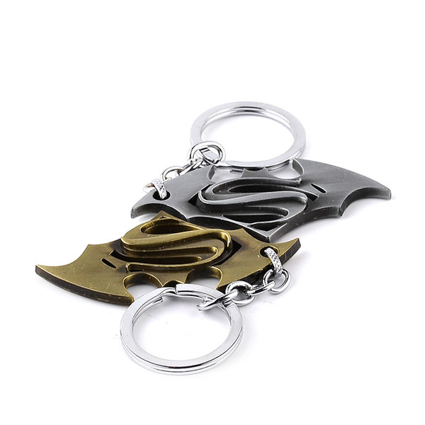 epacket gratis 1 pc Super Man Key Ring Movie Cartoon Charms The Avengers Superman S Sign Bat Wing Car llaveros
