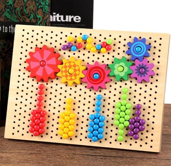 Puzzles de uñas de setas creativas Flight Chess Spinning Gear Juguetes de madera Niños Niños Juguetes educativos preescolares