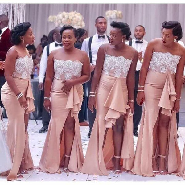 cce568461314 2018 Country Nigerian Bridesmaid Dresses Strapless Lace Mermaid Maid of  Honor Gowns Split Side Long Summer