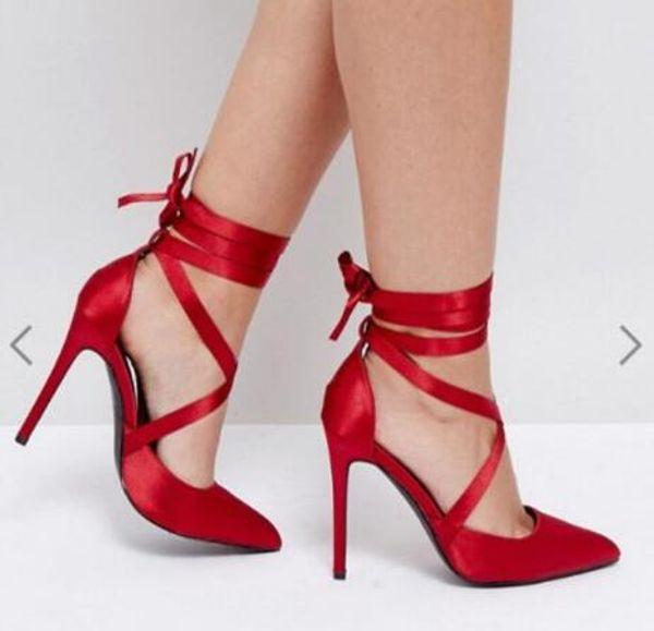 2018 Neue Frauen rot High Heels Satin Pumpen dünne Ferse Party Schuhe Knöchelriemen Pumpen Punkt Zehe schnüren sich oben Pumpen Kleid Schuhe