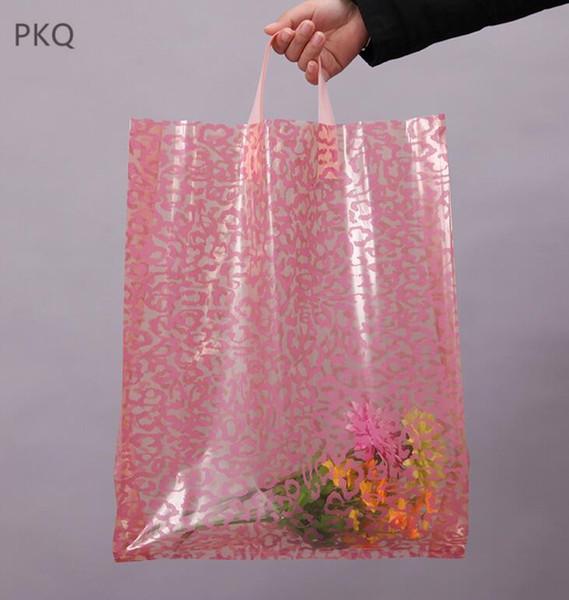 8.1 30x41cm 50 unids Gran bolsa de compras de tela rosa bolsa de regalo de plástico con asa grande de plástico portador de embalaje de regalo