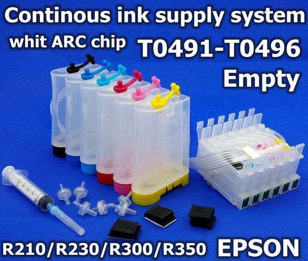 2019 Sublimation Ink CISS Inkjet Printer R200 R210 R220 R230 R300 R320 R340  R350 T0491 T0496 Auto Reset Chip R230 Ink Supply System From Adtison,