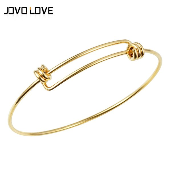 Stianless Steel Adjustable Cuff Bracelets Silver Gold Color Wire Bracelet Trendy Charms Bangle for DIY Jewelry Making Bijoux