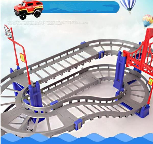 Tijolos do bloco de construção 88 pcs carro de veículo ferroviário elétrico com llight trem trilha pista de corrida de carro de brinquedo brinquedo educativo puzzle para crianças