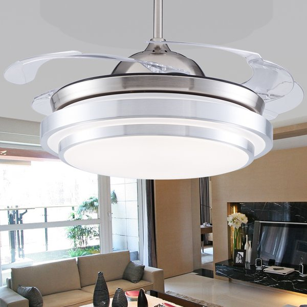"""36/""""Crystal Invisible Ceiling Fan Light Chandelier Pendant Lamp Home Decor Silver"""