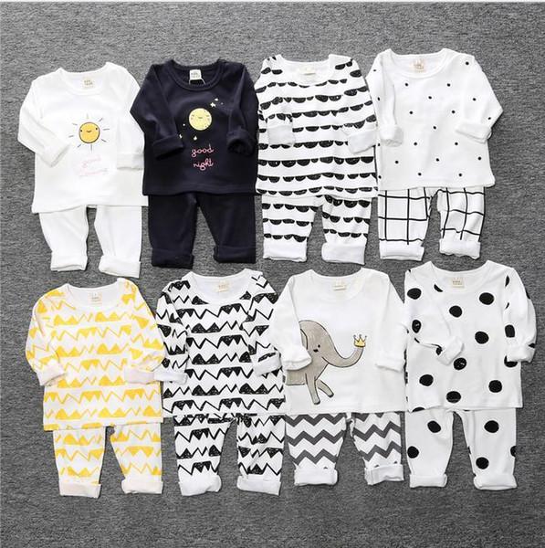 Crianças pijamas para meninos meninas camiseta homewear crianças pijama terno casa trajes set roupa do bebê para meninos b816