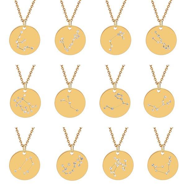 Fashion Gold 12 Constellation Collana in acciaio inossidabile Donna gioielli in cristallo zircone Zodiaco segno pendente collana