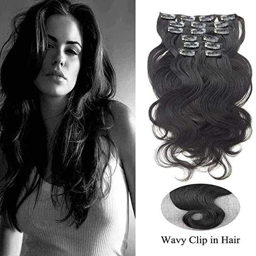 Clip in Wavy Hair Extensions Double Weft Jet Black Clip in Human Hair Extensions SHOWJARLLY for Women Body Wave Short Remy Hair