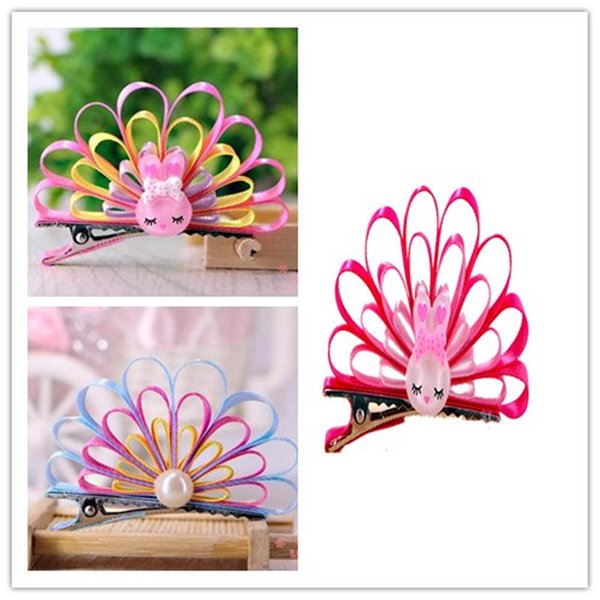 2018New 10pcs/lot Pet Cats Grooming Accessories Clips handmade Peacock Princess Cute Fabric Flower Dog Hair bow Hairpin