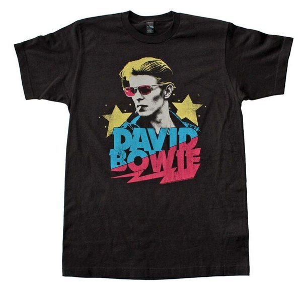 David Bowie Smoking T-Shirt Stranger Things Design T-Shirt 2018 Nueva camiseta casual Hombre Patrón de manga corta Slim