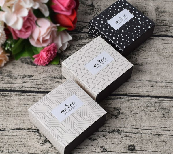 9x8.7x4cm Gift Candy Box For Wedding Party Birthday Dots Lattice Small Drawer Paper Box Cake Chocolate Gift Packaging Cardboard