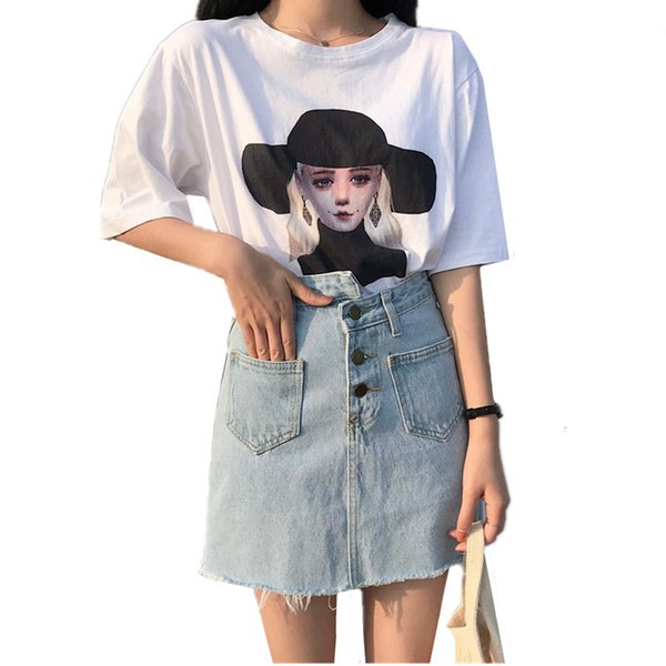 Casual Solid Color Personality Burrs Button Pockets Washed Denim Skirt Summer New Arrival 2018 Women Clothing Hot Sale