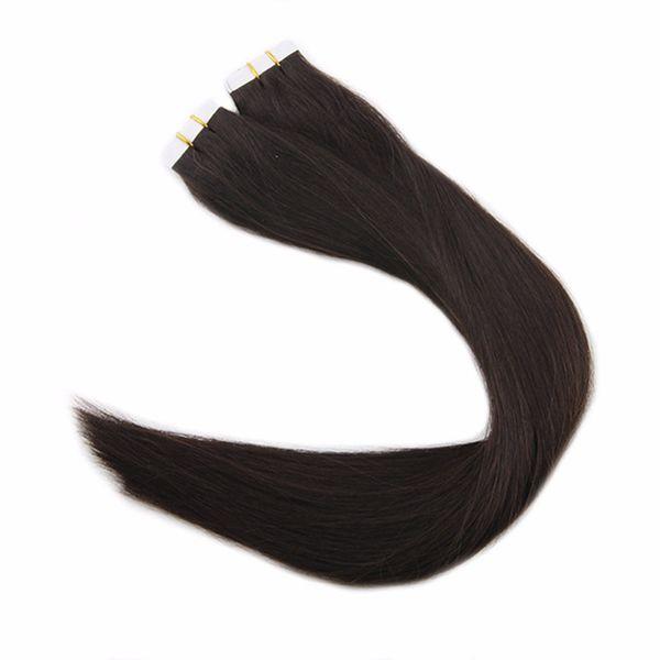 Уток кожи наращивание человеческих волос Лента наращивание волос #2 50г 100г бесшовные Реми бразильские наращивание волос