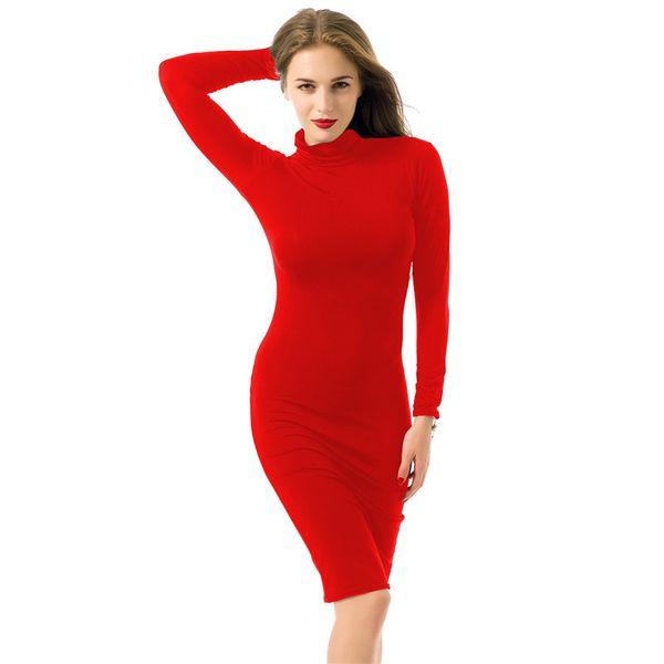 Европа Россия весна осень мода женщины с длинным рукавом трикотажные хлопчатник платья красный синий водолазка упругие узкие талии тонкий